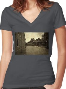 The Side Streets of Marietta Square Women's Fitted V-Neck T-Shirt