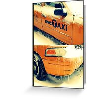 taxi in the snow Greeting Card