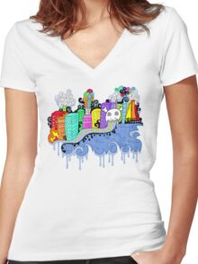 This City is Industrious.  Women's Fitted V-Neck T-Shirt