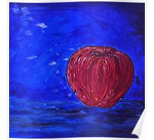 Red Apple on a Blue Day Poster