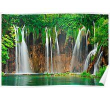 Green vitality. Plitvice waterfalls Poster