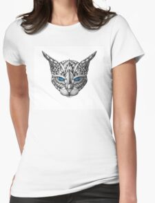 Ornate Blue Eyes Cat Womens Fitted T-Shirt