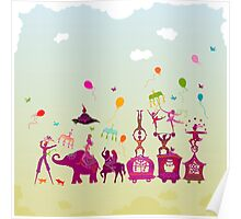 colorful circus carnival traveling in one row during daylight Poster