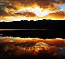 Sunset Reflections Over Loch Achray by Aj Finan