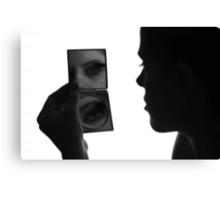 Morning routine - woman mirror reflection portrait   Canvas Print
