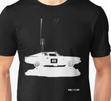 Valiant Charger Australian Muscle Car side view with power lines, 88 white Unisex T-Shirt
