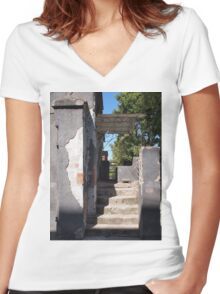 Porch of the old building with crumbling plaster Women's Fitted V-Neck T-Shirt