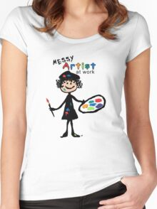 Messy Artist At Work (for light color clothing) Women's Fitted Scoop T-Shirt