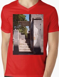 The porch of an old building with peeling off the plaster Mens V-Neck T-Shirt