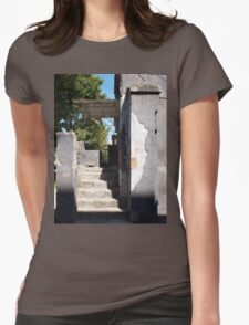 The porch of an old building with peeling off the plaster Womens Fitted T-Shirt