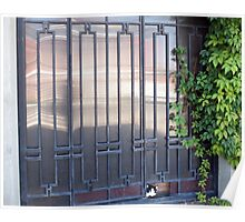 Locked gates with ornaments of metal strips Poster