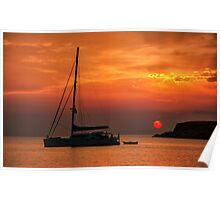 Silhouette of a sailing boat at sunset Poster