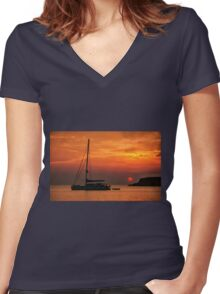 Silhouette of a sailing boat at sunset Women's Fitted V-Neck T-Shirt