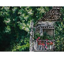 Cabin Landscape with Flowers: Watercolour Painting Photographic Print