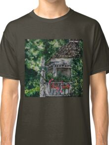 Cabin Landscape with Flowers: Watercolour Painting Classic T-Shirt