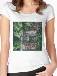 Cabin Landscape with Flowers: Watercolour Painting Women's Fitted Scoop T-Shirt