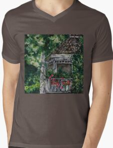 Cabin Landscape with Flowers: Watercolour Painting Mens V-Neck T-Shirt
