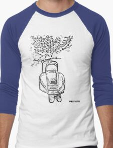 modified 1967 Piaggio Vespa back view with sports exhaust black Men's Baseball ¾ T-Shirt