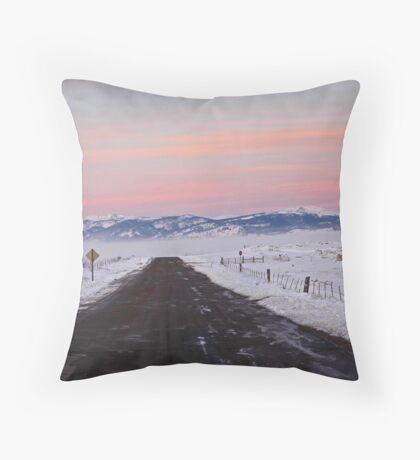 Morning Drive through Walden Throw Pillow