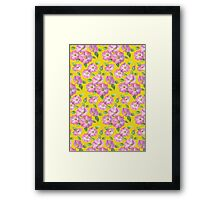 Watercolour wild roses on yellow Framed Print