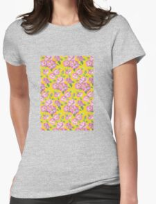 Watercolour wild roses on yellow Womens Fitted T-Shirt