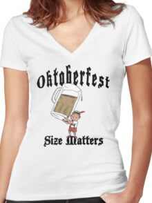 "Funny Oktoberfest ""Size Matters"" Women's Fitted V-Neck T-Shirt"