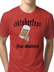 """Funny Oktoberfest """"Size Matters"""" Tri-blend T-Shirt"""