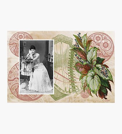 Steampunk Victorian Floral Corset Photographic Print