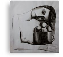 Woman with oranges, ink on paper, 1998 Canvas Print