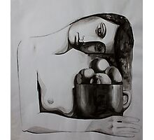 Woman with oranges, ink on paper, 1998 Photographic Print