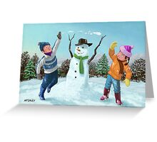 children playing in snow Greeting Card