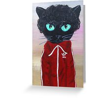 Chas Tenenbaum Black Cat Adidas  Greeting Card