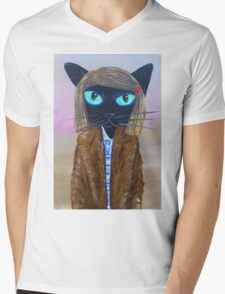 Anderson Tenenbaum black cat  Mens V-Neck T-Shirt