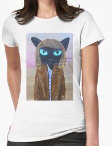 Anderson Tenenbaum black cat  Womens Fitted T-Shirt