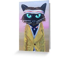 Anderson Tenebaum black cat Greeting Card