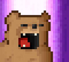 Angry Pixel Bear by adambombnickel
