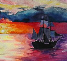 Sunset Ship Watercolour Painting by noellesawatzky