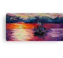 Sunset Ship Watercolour Painting Canvas Print