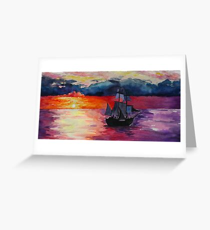 Sunset Ship Watercolour Painting Greeting Card