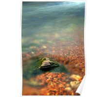 Rock surfacing through water Poster
