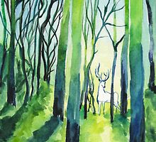 Stag in Forest Watercolour Painting by noellesawatzky