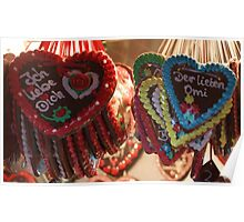 gingerbread christmas hearts Poster