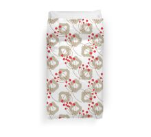 Ikat pattern and berry branches Duvet Cover