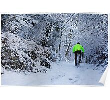 Cyclist in the Snow Poster