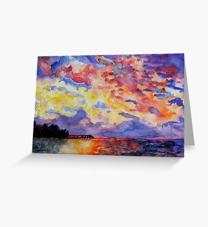 Lake Sunrise Watercolour Painting Greeting Card