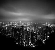 Panoramic View of Hong Kong at nigth by Matej Kastelic