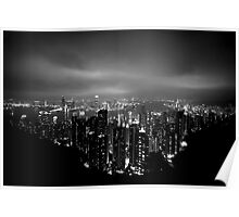 Panoramic View of Hong Kong at nigth Poster