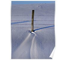 Snow drift & fence post Poster