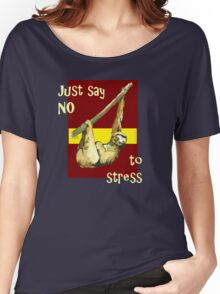 Sloth(red) - Just Say NO to Stress Women's Relaxed Fit T-Shirt