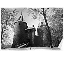 Snowy Castell Coch Poster